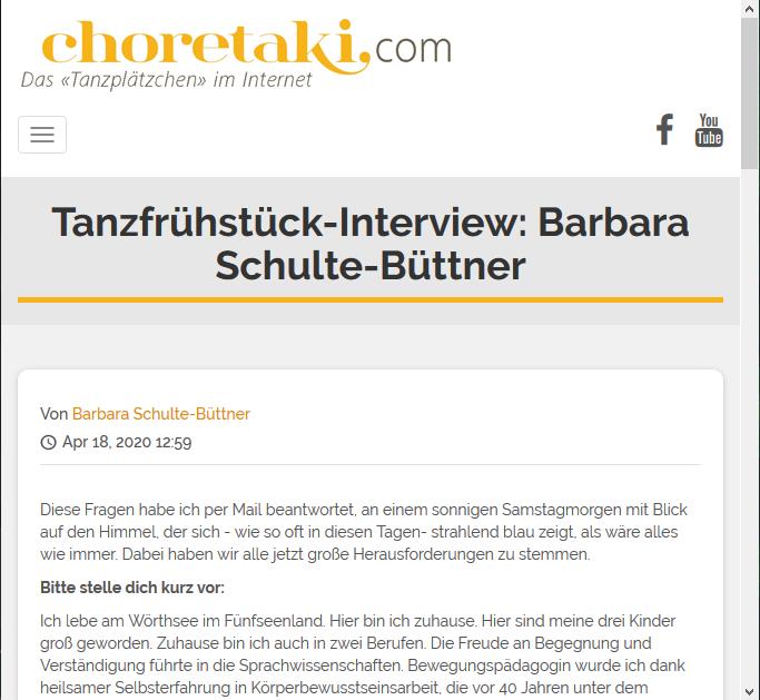choretaki Tanzfrühstück-Interview Barbara Schulte-Büttner